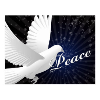 elegant blue peace dove Christmas Greetings Post Card