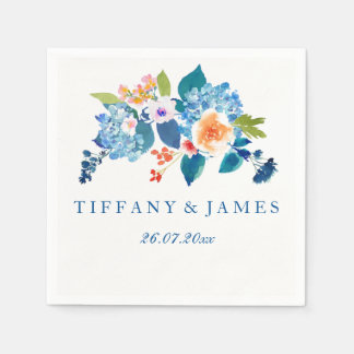 Elegant Blue & Peach Floral Wedding Napkin Disposable Napkin
