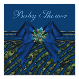 "Elegant Blue Peacock Animal Print Baby Shower 5.25"" Square Invitation Card"