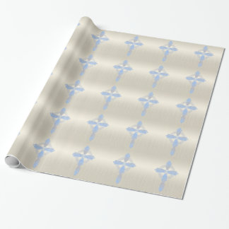 Elegant Blue Pearl Celtic Cross Wrapping Paper