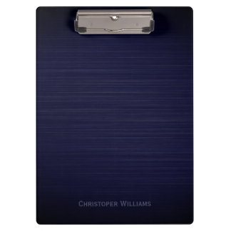 Elegant blue perforated metal personalized clipboard