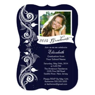 "Elegant Blue Photo Graduation Party Invitation 5"" X 7"" Invitation Card"