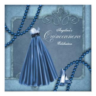 Elegant Blue Quinceanera Invitations