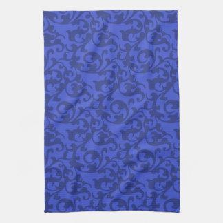 Elegant Blue Renaissance Damask Swirls Kitchen Towel