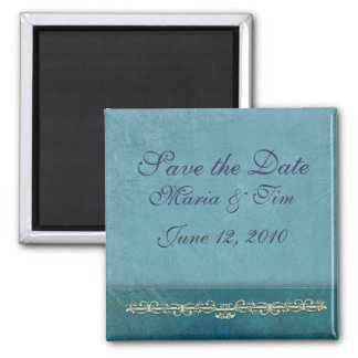 Elegant blue save the date template square magnet