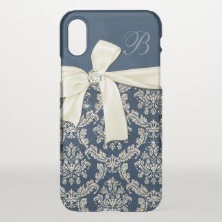 Elegant Blue Silver Damask Diamond Bow Monogrammed iPhone X Case
