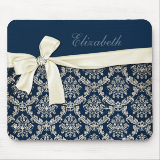 Elegant Blue Silver Damask Diamond Bow Monogrammed Mouse Pad
