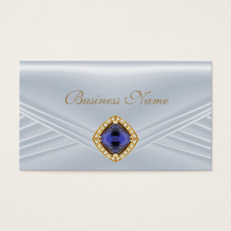 Elegant Blue Silver Diamond Jewel Business Card