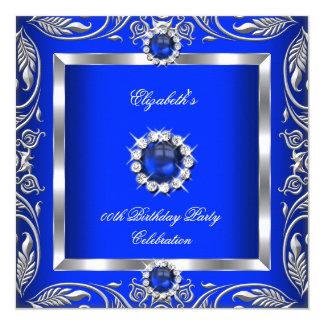 "Elegant Blue Silver Floral Pearl Jewel Birthday 5.25"" Square Invitation Card"