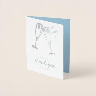 Elegant Blue Silver Foil Wedding Thank You Cards