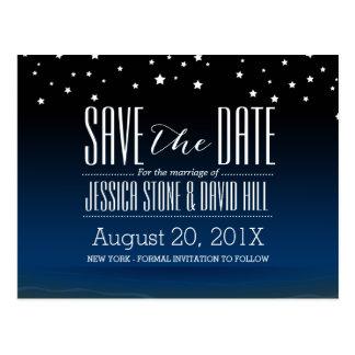 Elegant Blue Starry Night Wedding Save the Date Postcard