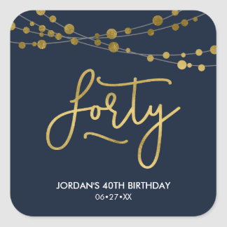 Elegant Blue Strings of Lights 40th Birthday Party Square Sticker