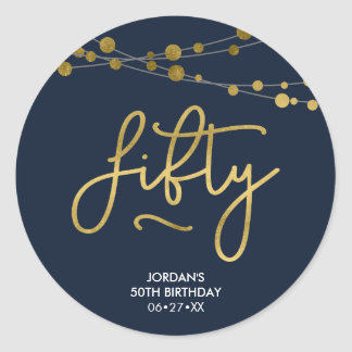 Elegant Blue Strings of Lights 50th Birthday Classic Round Sticker