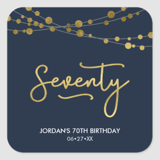 Elegant Blue Strings of Lights 70th Birthday Party Square Sticker