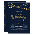 Elegant Blue Strings of Lights Wedding Invitation