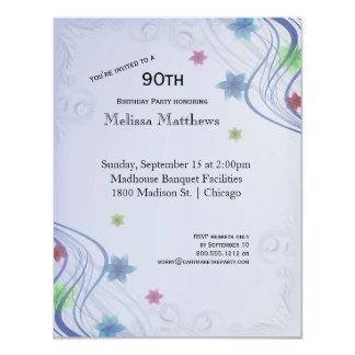 Elegant Blue Swirls And Colourful Waterflowers Card