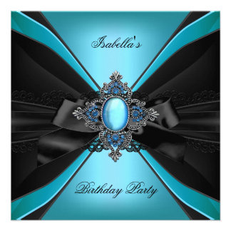 Elegant Blue Teal Jewel Lace Bow Birthday Party Custom Announcement