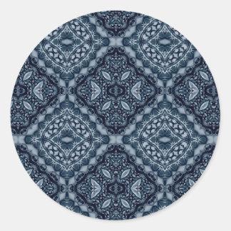 Elegant blue tile pattern classic round sticker