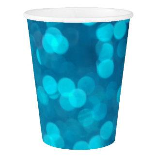 Elegant Blue Turquoise Bokeh Circles Light Pattern Paper Cup