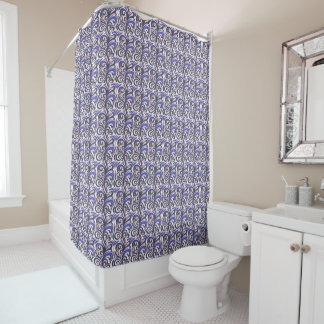 Elegant Blue Verdure Shower Curtain