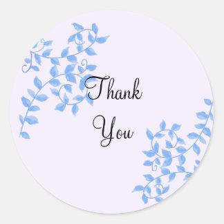 Elegant Blue Vines Thank You Classic Round Sticker