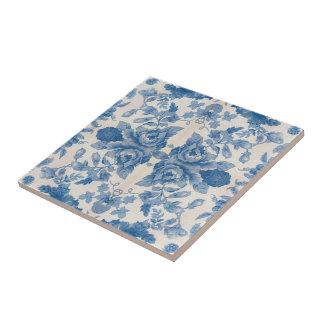 Elegant blue vintage floral ceramic tiles
