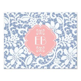 Elegant Blue Vintage Lace Personalized Monogram Card