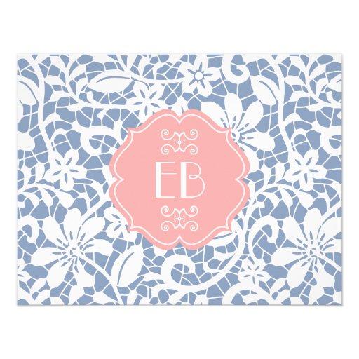 Elegant Blue Vintage Lace Personalized Monogram Custom Invites