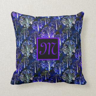 Elegant blue & violet monogrammed pillow
