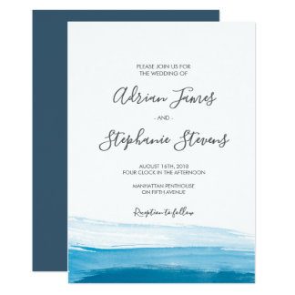Elegant Blue Watercolor Wedding Invitation