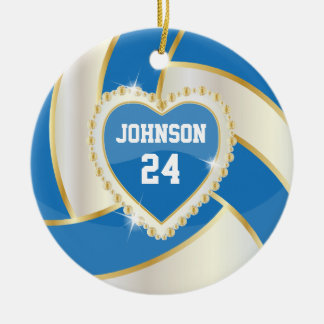 Elegant Blue, White and Gold Volleyball Ceramic Ornament