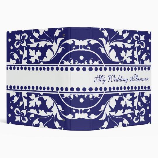 Elegant Blue & White Damask Avery Binder