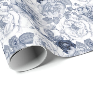 Elegant blue white floral pattern party Vintage Wrapping Paper