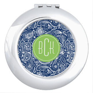 Elegant Blue White & Green Floral Paisley Compact Mirror