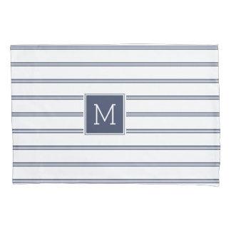 Elegant Blue & White Modern Stripes Monogrammed Pillowcase