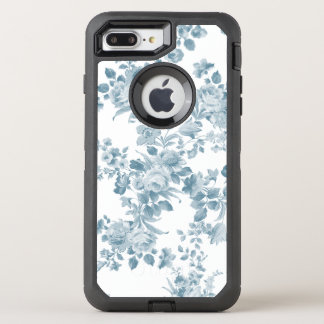 Elegant blue white vintage bohemian floral pattern OtterBox defender iPhone 8 plus/7 plus case