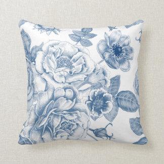 Elegant blue white Vintage floral decor pillow