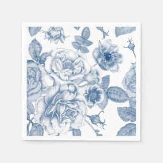 Elegant blue white Vintage floral pattern napkins Disposable Napkin
