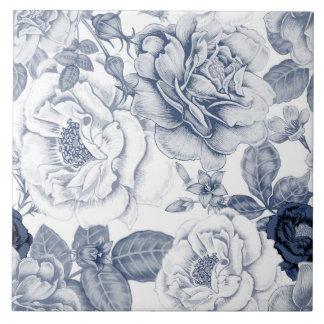 Elegant blue white vintage floral pattern tile