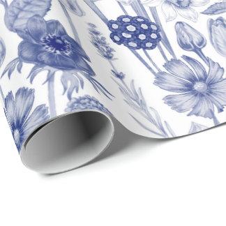 Elegant blue white vintage pattern party wrap wrapping paper