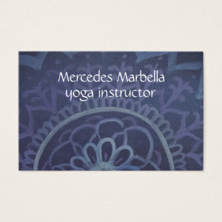 Elegant blue yoga instructor mandala Business Card