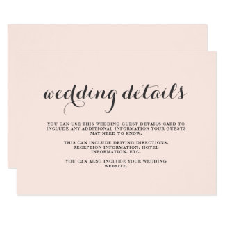 Elegant Blush and Gray Wedding Guest Details Card
