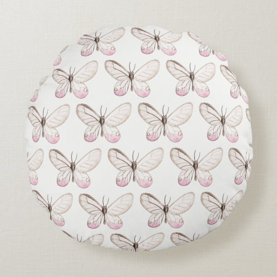 Elegant Blush Butterflies Pattern Round Pillow