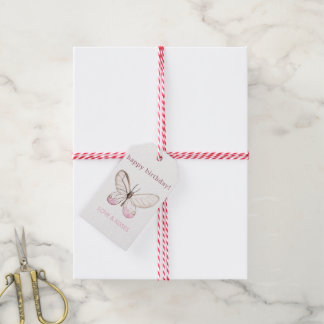 Elegant Blush Butterfly Birthday Gift Tags