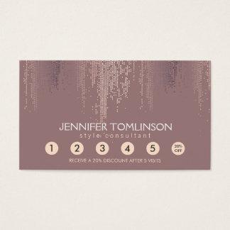 Elegant Blush Confetti Rain Pattern Loyalty Card
