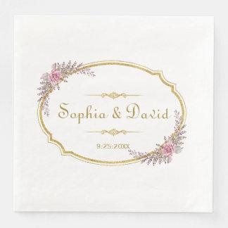 Elegant Blush Floral Gold Frame Wedding Paper Napkins