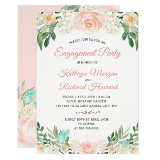 Elegant Blush Peach Floral Spring Engagement Party Card