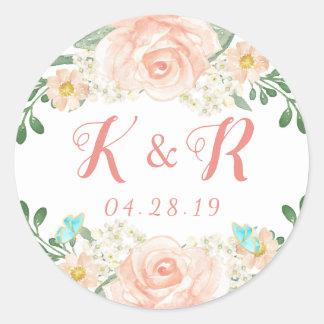 Elegant Blush Peach Floral Wedding Monogram Classic Round Sticker