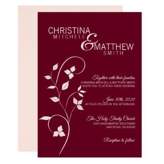 Elegant Blush Pink Rose & Burgundy Vine Wedding Card