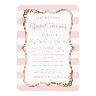 Elegant Blush Stripes Gold Floral Bridal Shower Card